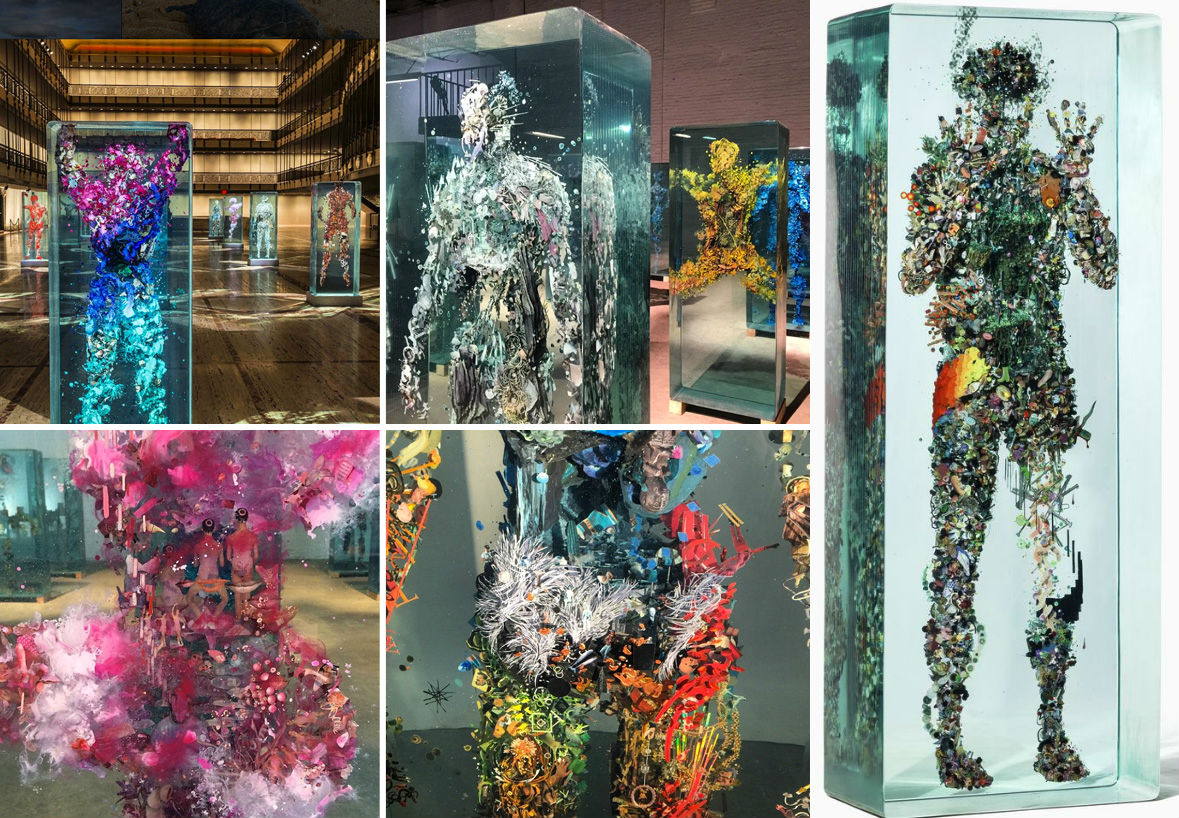 3D Collaged Figures Encased In Glass By Dustin Yellin 3