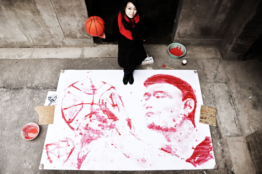 Yao Ming Portrait Painted With a Basketball 2