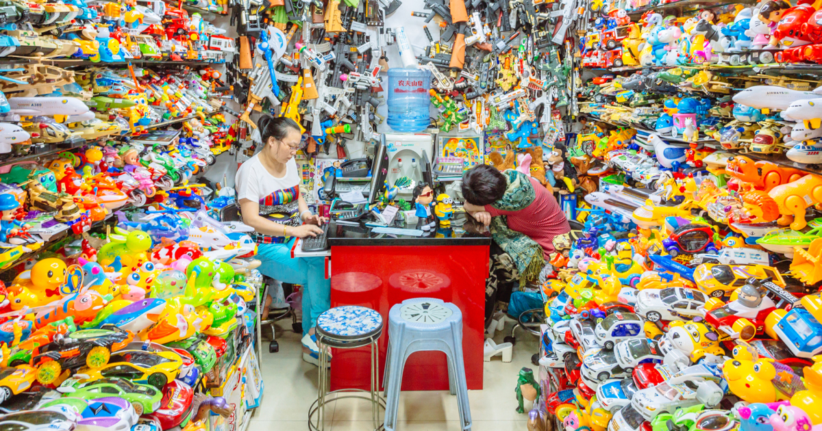 Plastic toys sellers in China Commodity City, Yiwu, China.