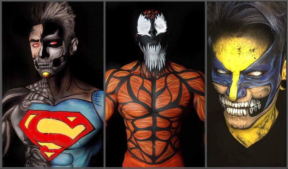 hyperrealistic superhero bodyart by argenis pinal brain