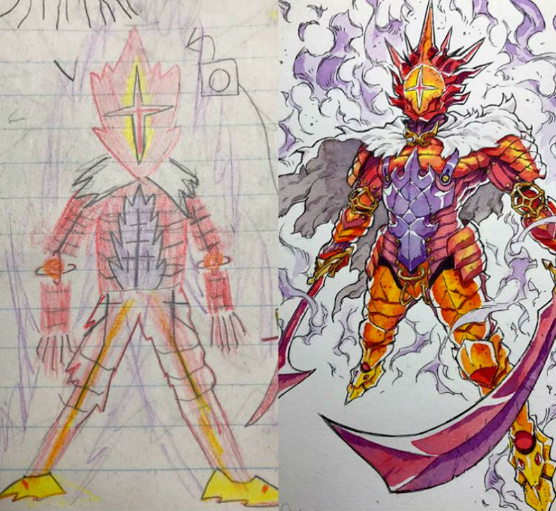 dad turns his sons doodles into amazing anime drawings brain berries