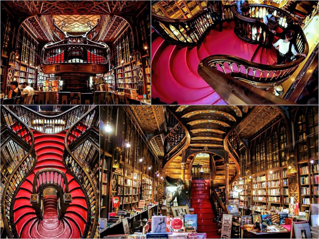 Red Staircase at Livraria Lello, Porto, Portugal | 15 Most Astonishing Staircases In the World | Brain Berries