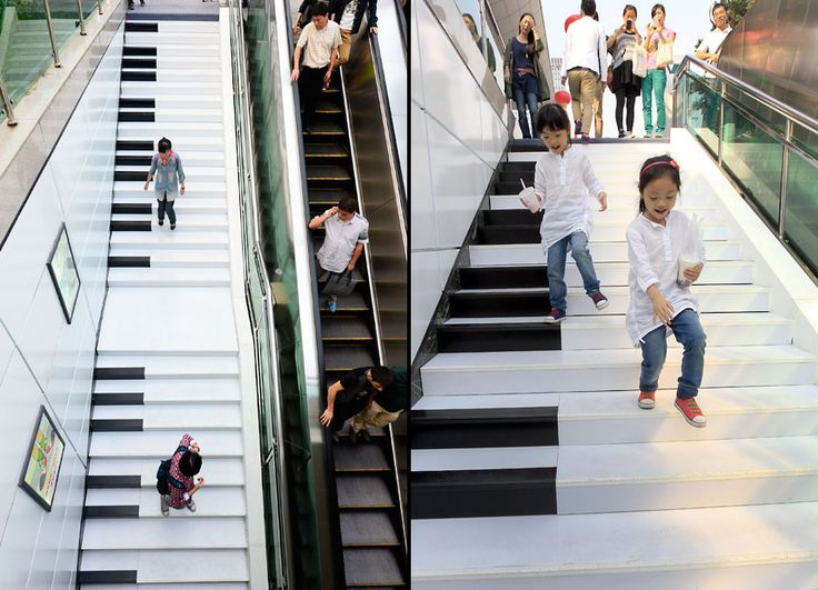 Musical Piano Stairs on Wulin Plaza, Hangzhou, China | 15 Most Astonishing Staircases In the World | Brain Berries