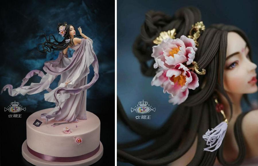 Кондитер Чжоу Йи создает невероятно реалистичные украшения для тортов, в виде красавиц-китаянок #8 | ZestRadar