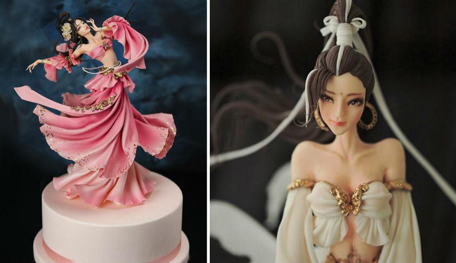 Кондитер Чжоу Йи создает невероятно реалистичные украшения для тортов, в виде красавиц-китаянок #11 | ZestRadar