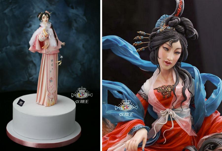 Кондитер Чжоу Йи создает невероятно реалистичные украшения для тортов, в виде красавиц-китаянок #12 | ZestRadar