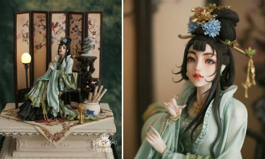 Кондитер Чжоу Йи создает невероятно реалистичные украшения для тортов, в виде красавиц-китаянок #9 | ZestRadar