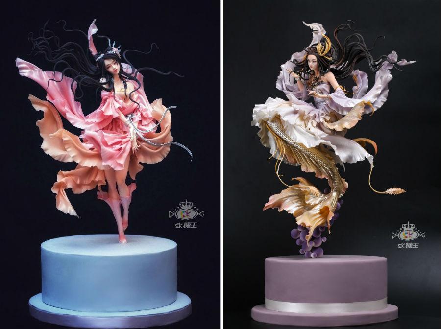 Кондитер Чжоу Йи создает невероятно реалистичные украшения для тортов, в виде красавиц-китаянок #5 | ZestRadar