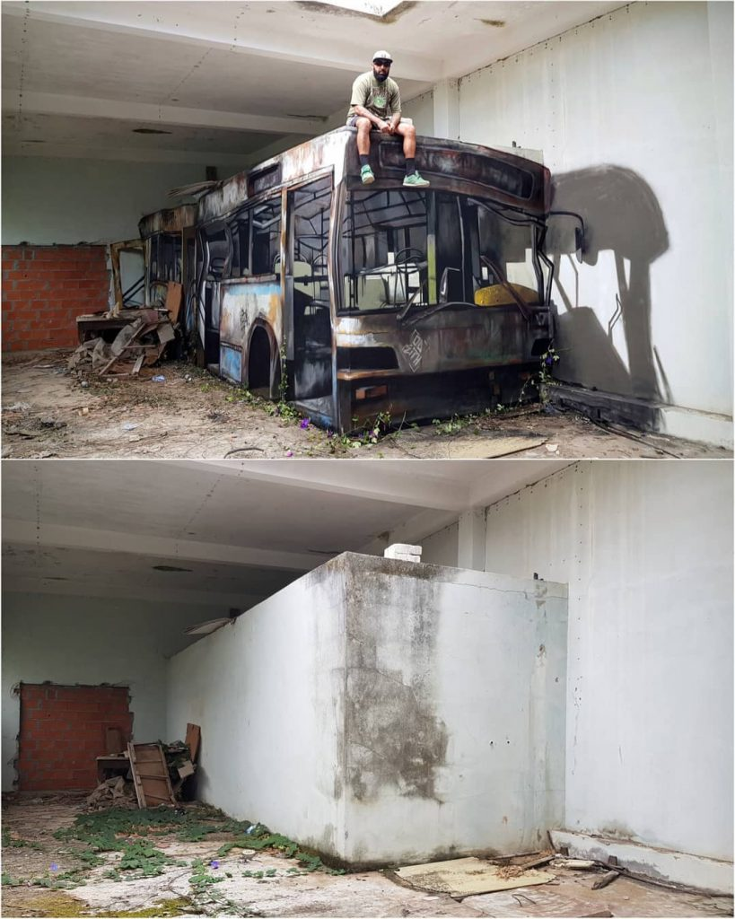3D bus | 10 Hyper-Realistic 3D Street Art By Odeith | Brain Berries