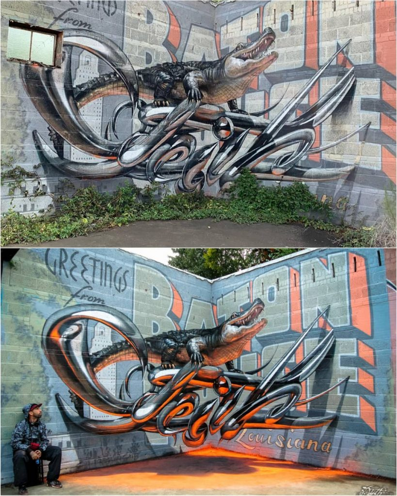 alligator | 10 Hyper-Realistic 3D Street Art By Odeith | Brain Berries