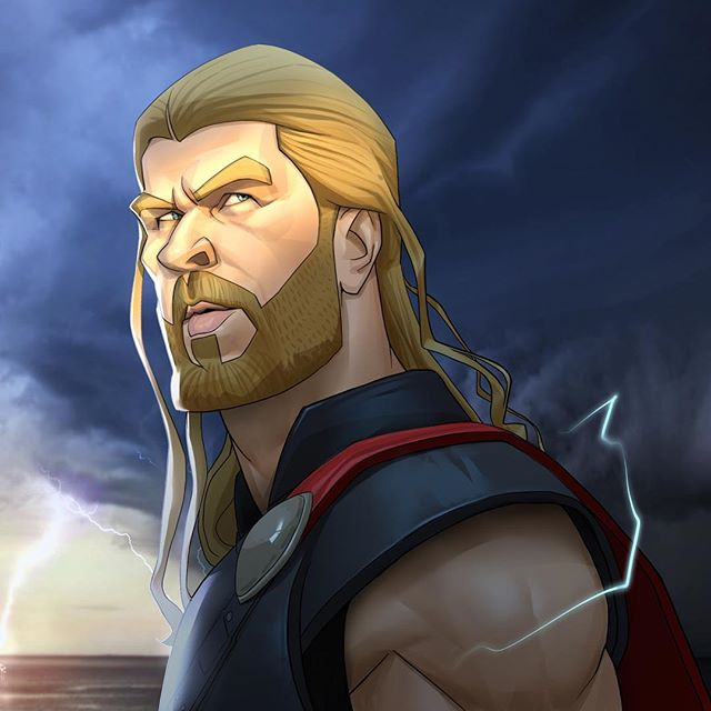 Thor – the God of Lightning  | 23 Marvel Heroes Raimagined by Xi Ding | Brain Berries