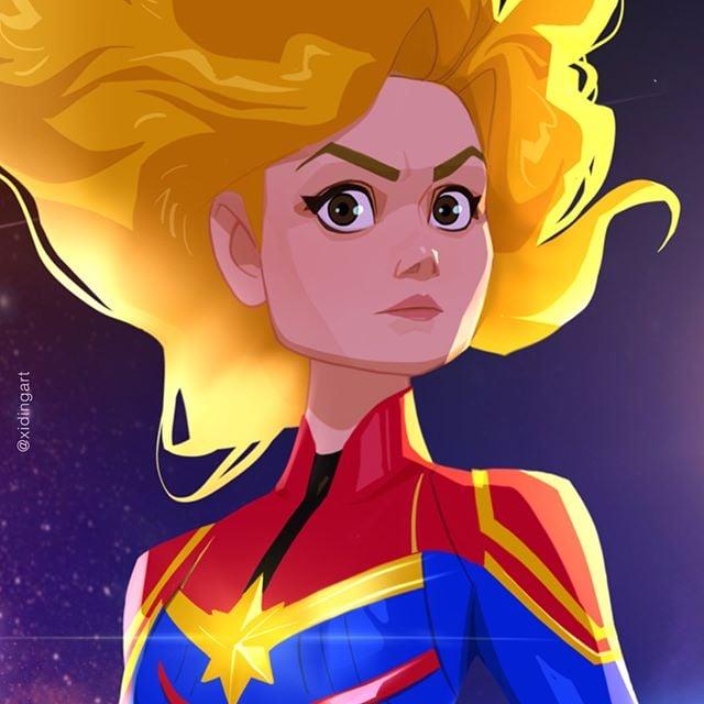 Captain Marvel  | 23 Marvel Heroes Raimagined by Xi Ding | Brain Berries