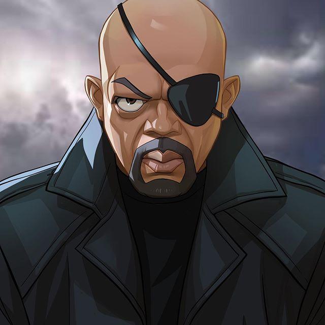 Nick Fury | 23 Marvel Heroes Raimagined by Xi Ding | Brain Berries