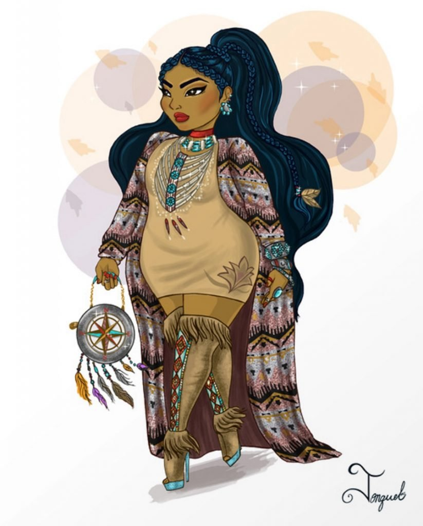 Pocahontas | American Artist Reimagines Disney Princesses In Plus Sizes | ZestRadar