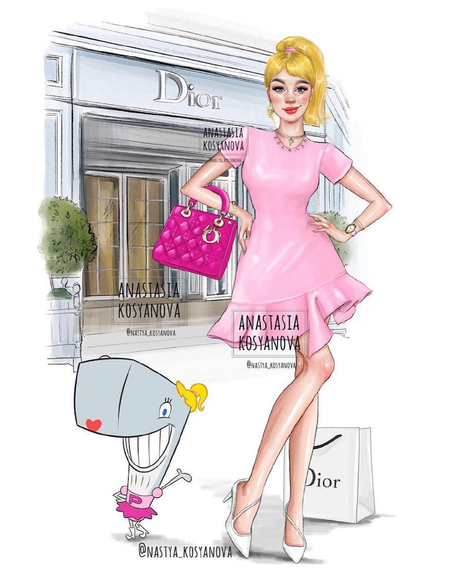 Pink | Fashion Illustrator Makes Cartoon Characters Stylish and Trendy