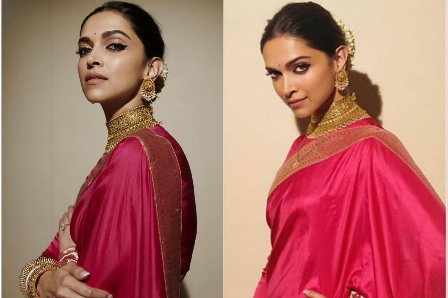 A bright pink sari by raw mango | Deepika Padukone's Most Memorable Looks | Brain Berries