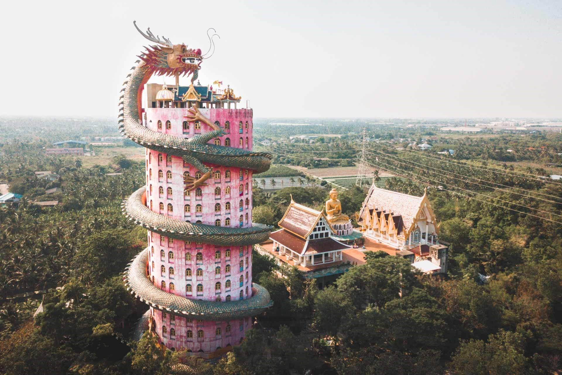 Tòa nhà rồng ở Wat Samphran | 7 kỳ quan kiến trúc độc đáo bậc nhất của Thái Lan | Brain Berries