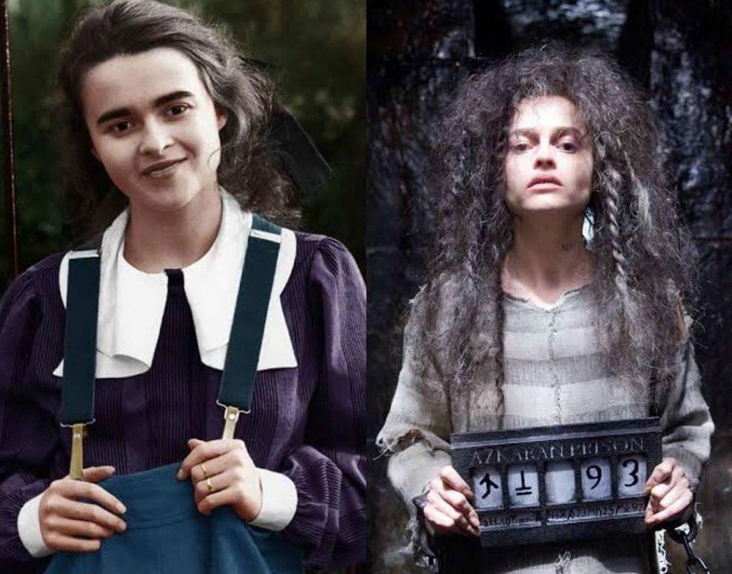 Helena Bonham Carter/Bellatrix Lestrange | The Older Cast Of Harry Potter In Their Much Younger Photos | ZestRadar