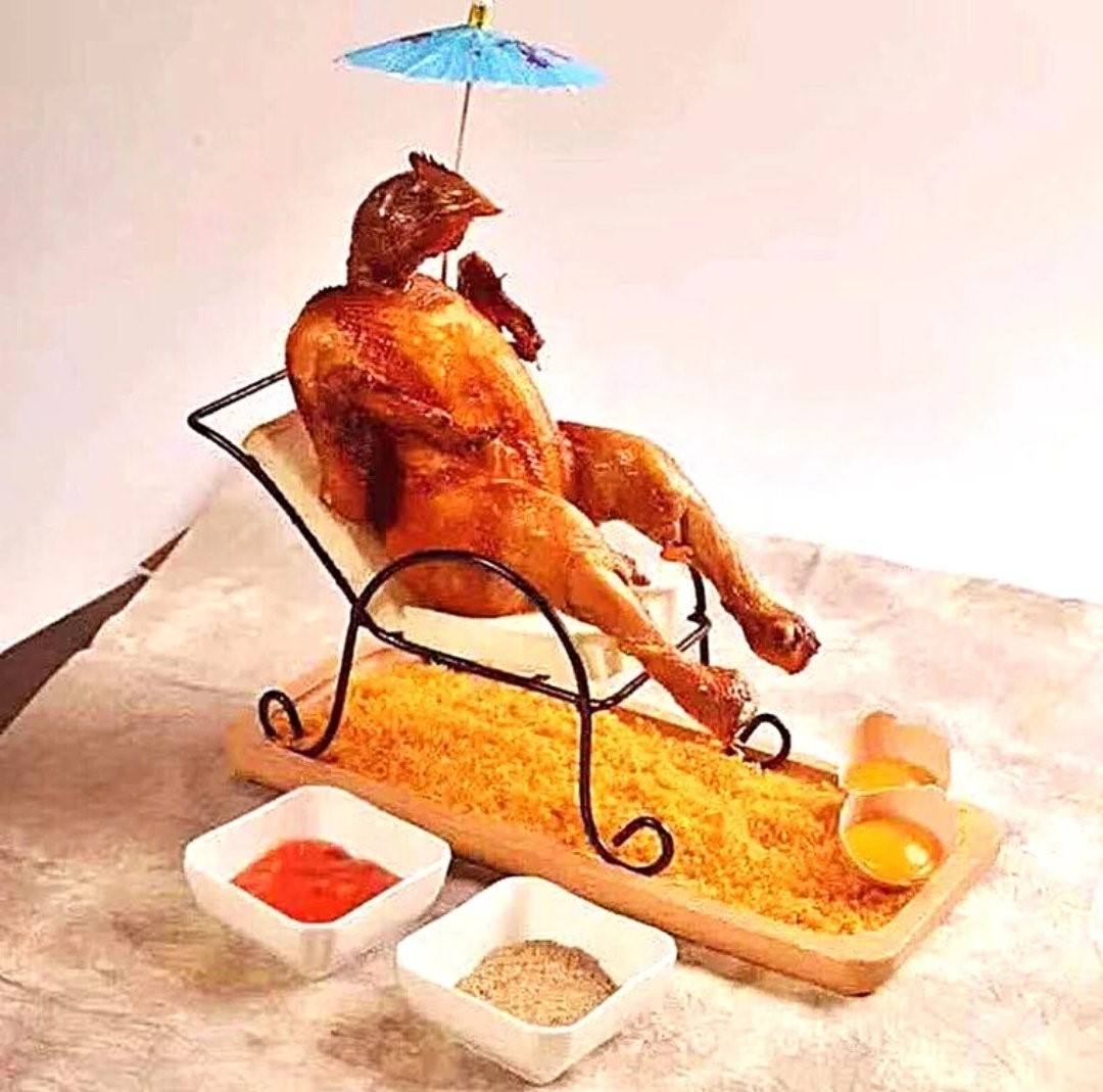 Chicken   Unsettling Food Art by @TotallyGourmet   Brain Berries