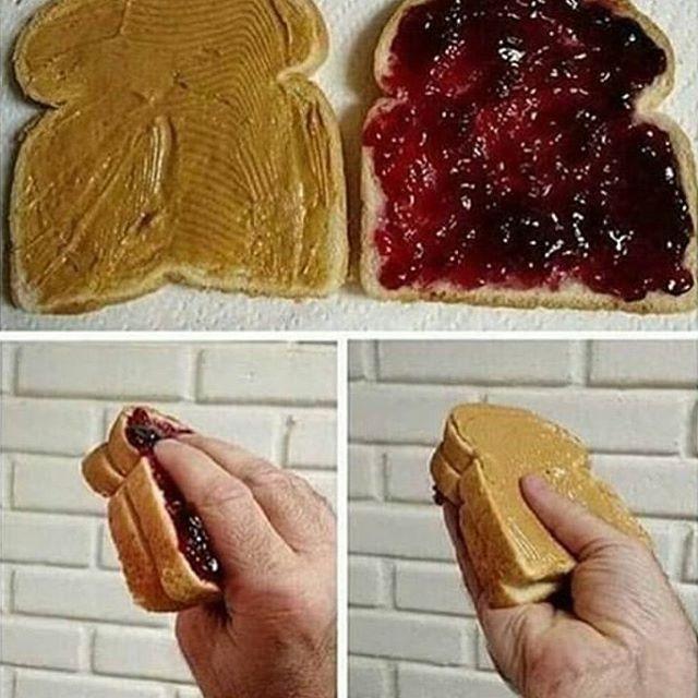 PBJ sandwich | Unsettling Food Art by @TotallyGourmet | Brain Berries
