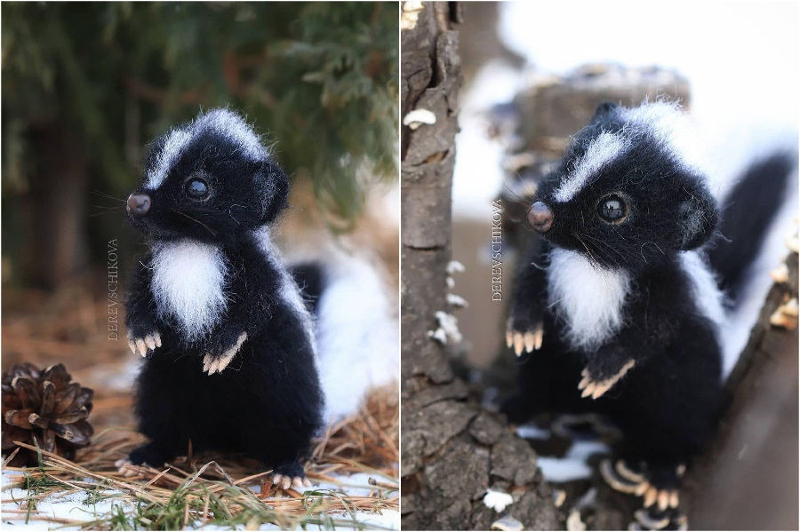 Skunks | Super Realistic And Extra Cute Felt Animals By Russian Artist | Brain Berries