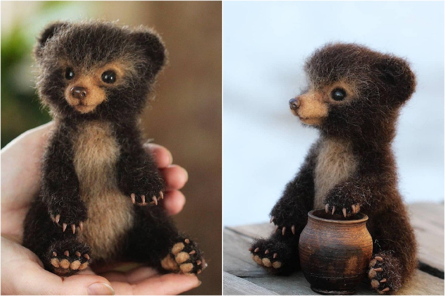 Miniature bears | Super Realistic And Extra Cute Felt Animals By Russian Artist | Brain Berries