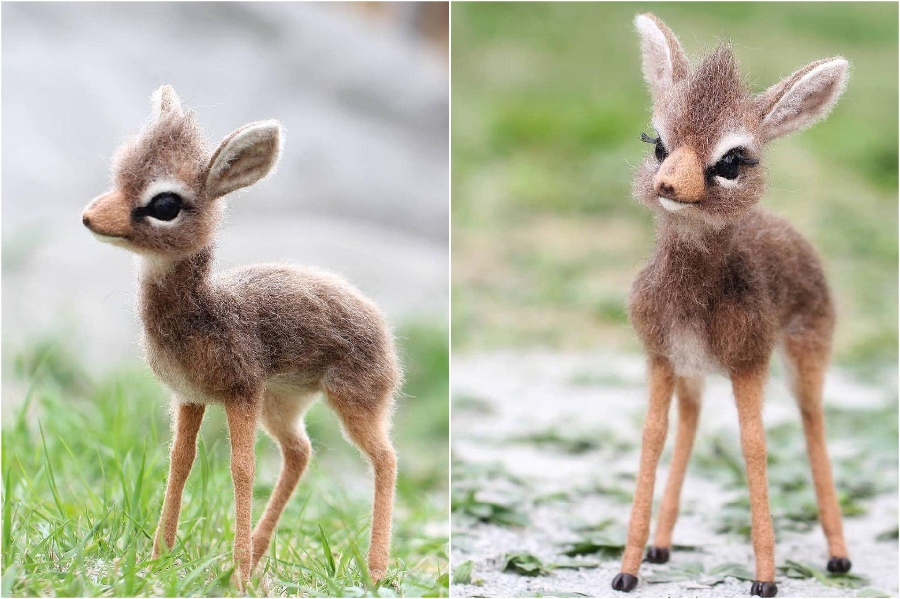 Dwarf antelope babies | Super Realistic And Extra Cute Felt Animals By Russian Artist | Brain Berries