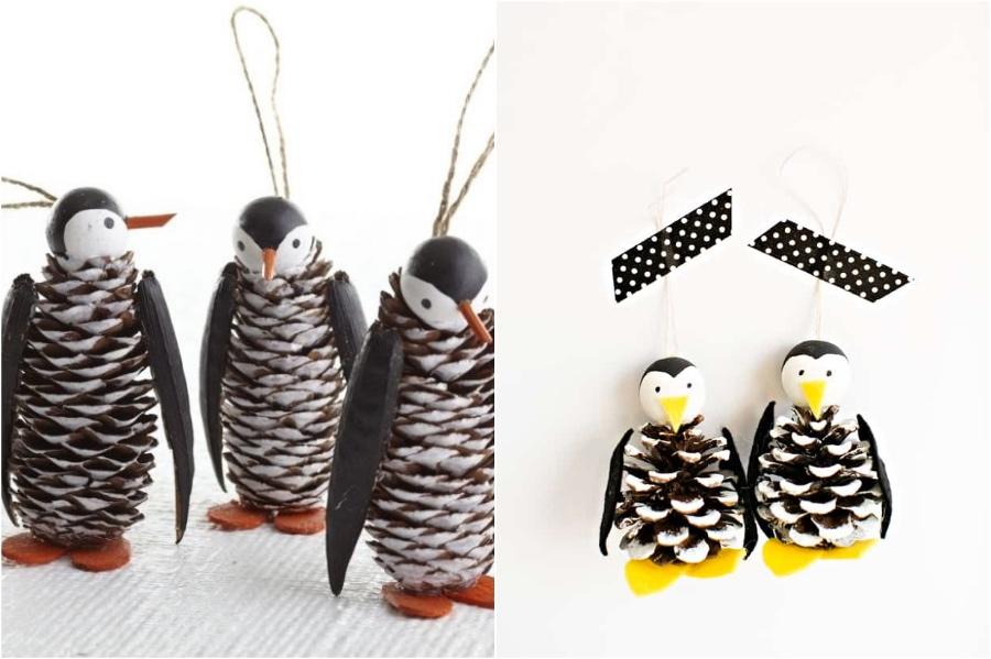 PineCone Penguins | 10 Pinecone DIYs To Try This Christmas | Zestradar