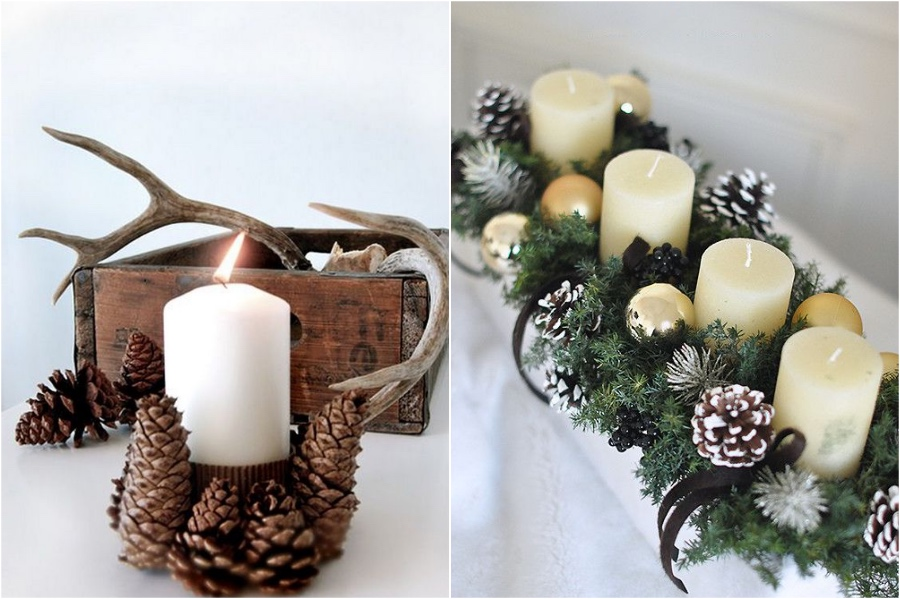 Pinecone Candle Holders | 10 Pinecone DIYs To Try This Christmas | Zestradar
