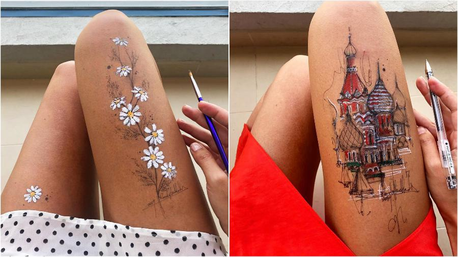 #2 | Randa Haddadin Creates An Amazing Art By Drawing On Her Jeans And Body | Zestradar