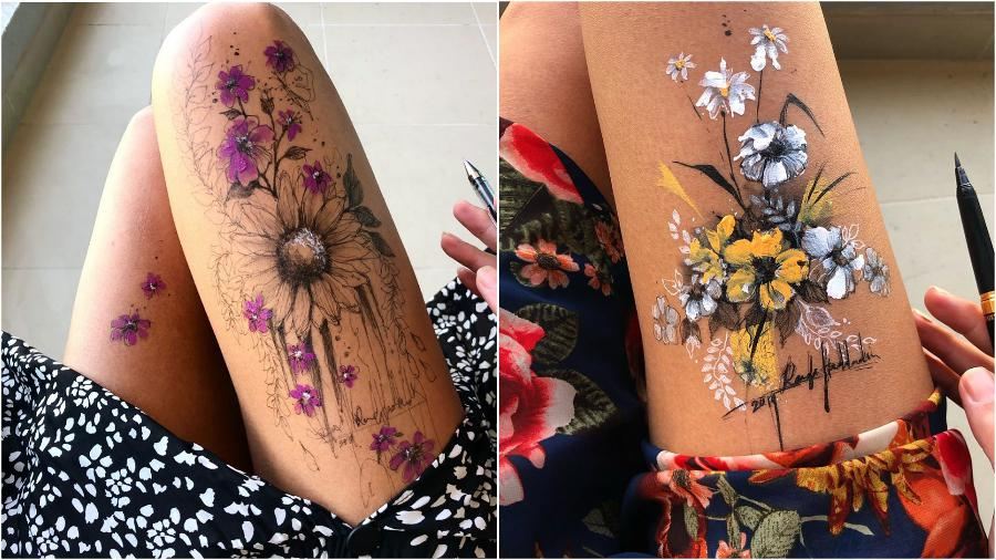 Randa Haddadin Creates An Amazing Art By Drawing On Her Jeans And Body | Zestradar