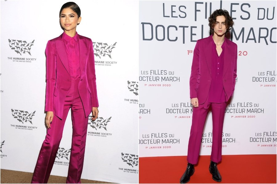 Zendaya and Timothée Chalamet in Christian Siriano | Male and Female Celebrities Who Wore the Same Outfit | Zestradar