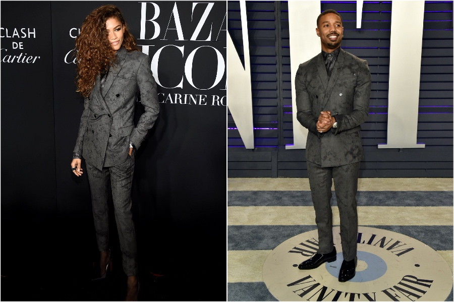 Zendaya and Michael B. Jordan in Berluti | Male and Female Celebrities Who Wore the Same Outfit | Zestradar