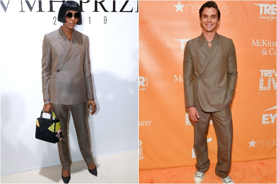 Naomi Campbell and Antoni Porowski in Dior | Male and Female Celebrities Who Wore the Same Outfit | Zestradar