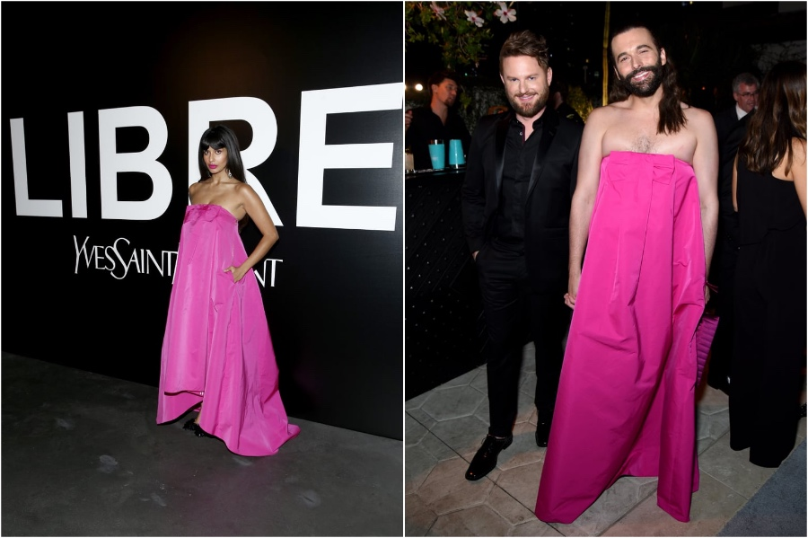 Jonathan Van Ness and Jameela Jamil in Rochas Dress | Male and Female Celebrities Who Wore the Same Outfit | Zestradar