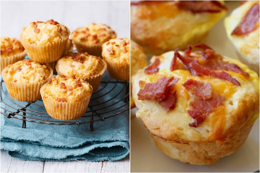 Bacon Cheese Muffins | 12 Surprising Ways To Add More Bacon Into Your Life | Zestradar