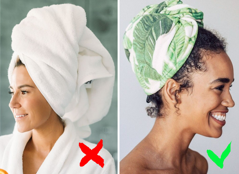 Drying hair with a towel | 9 Habits That Make You Look Old And Get You Sick | Zestradar