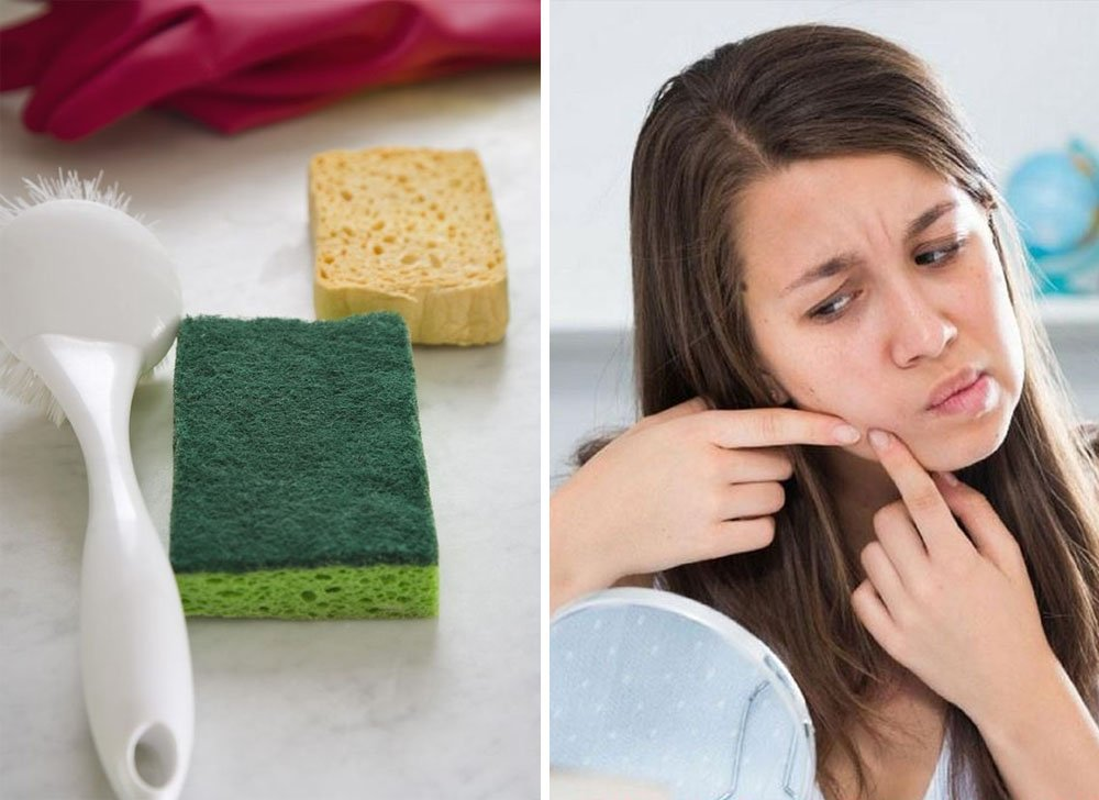 Using a sponge for dishes | 9 Habits That Make You Look Old And Get You Sick | Zestradar