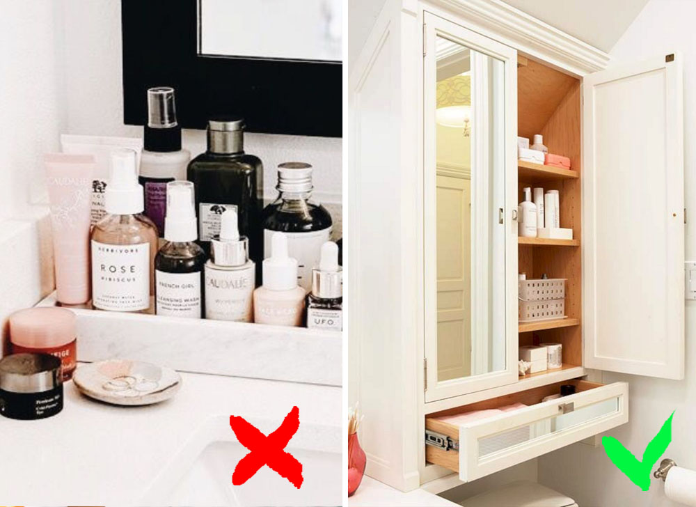 Keeping your cosmetics in the bathroom | 9 Habits That Make You Look Old And Get You Sick | Zestradar