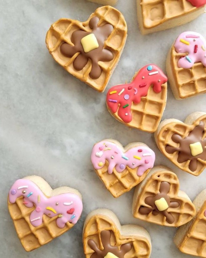 Waffle Hearts | 12 Cute Valentines Day Cookies Ideas | Zestradar