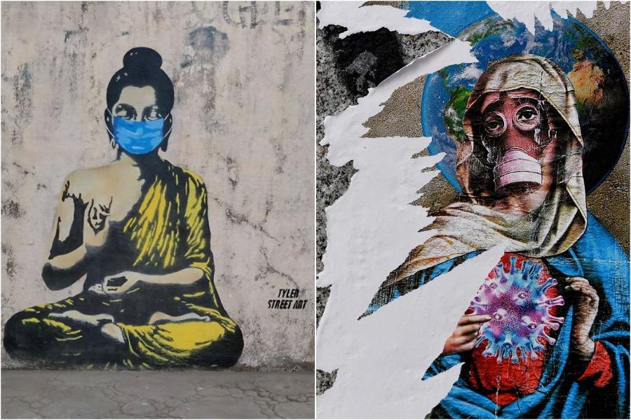COVID-19 Graffiti Art From Around The Globe #3   Brain Berries