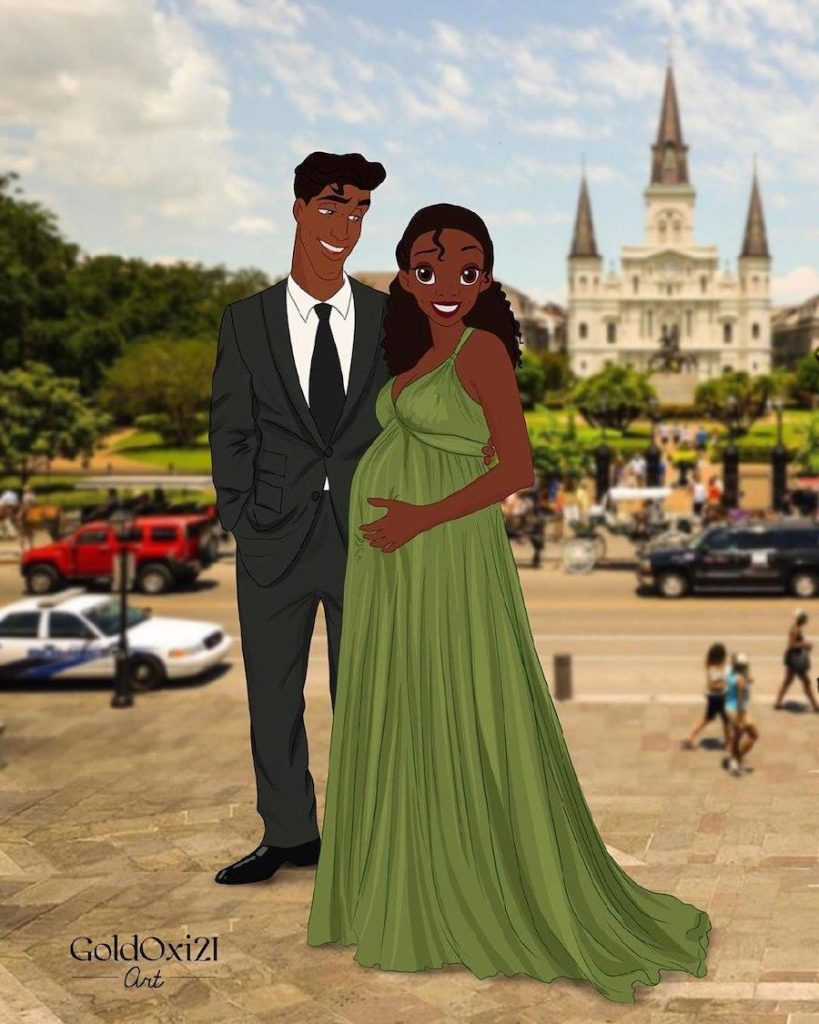 2. Tiana and Prince Naveen   Disney Princesses As Stylish Moms To Be   Brain Berries
