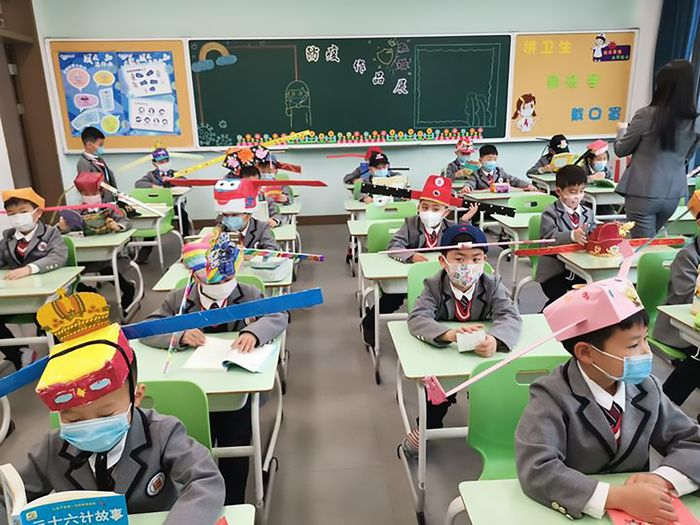 Chinese School Kids Wearing Strange Anti-COVID Hats #4   Brain Berries