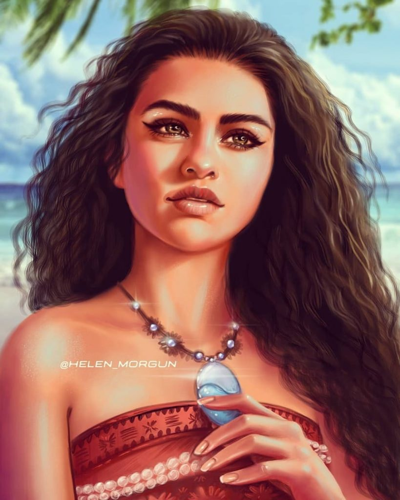 Moana - Selena Gomez | Ukrainian Artist Reimagines Your Favorite Celebrities as Disney Princesses | Zestradar
