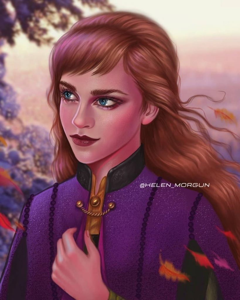 Anna - Emma Watson | Ukrainian Artist Reimagines Your Favorite Celebrities as Disney Princesses | Zestradar