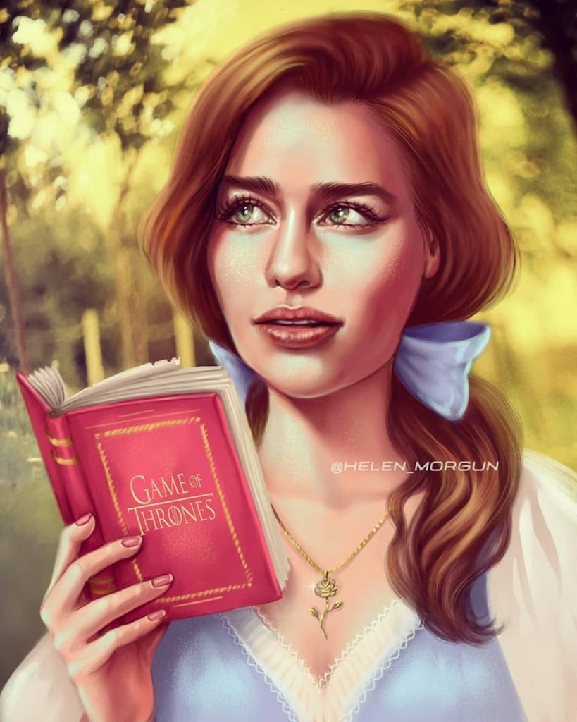 Belle - Emilia Clarke | Ukrainian Artist Reimagines Your Favorite Celebrities as Disney Princesses | Zestradar