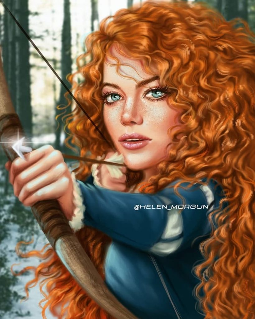 Merida - Emma Stone | Ukrainian Artist Reimagines Your Favorite Celebrities as Disney Princesses | Zestradar