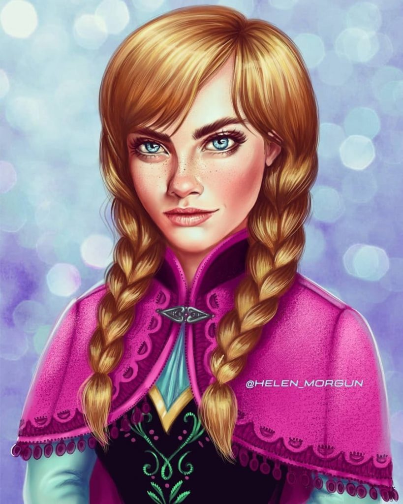Anna - Cara Delevingne | Ukrainian Artist Reimagines Your Favorite Celebrities as Disney Princesses | Zestradar