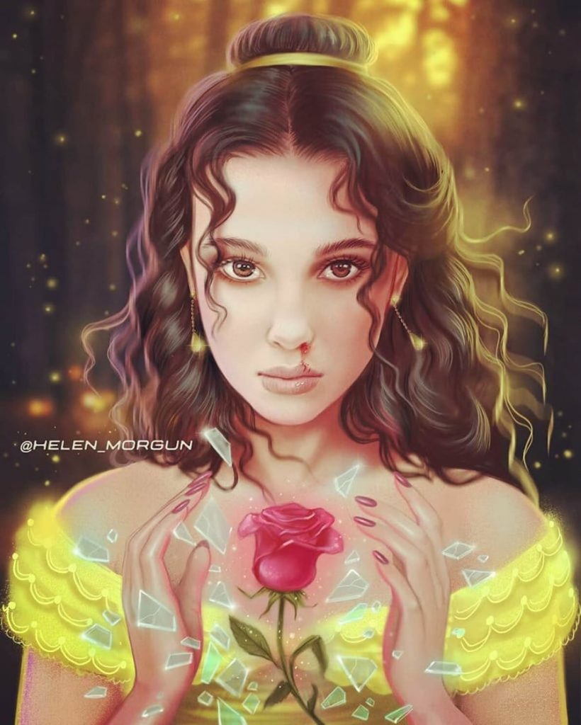 Belle - Millie Bobby Brown | Ukrainian Artist Reimagines Your Favorite Celebrities as Disney Princesses | Zestradar