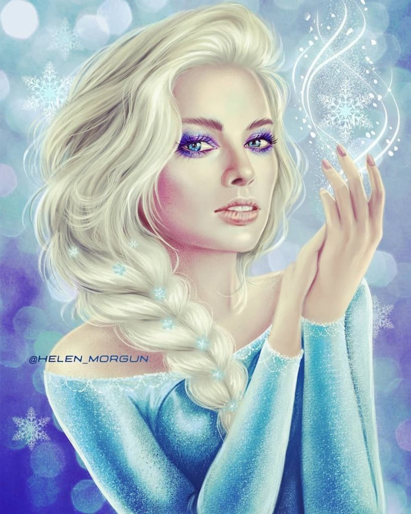 Elsa - Margot Robbie | Ukrainian Artist Reimagines Your Favorite Celebrities as Disney Princesses | Zestradar